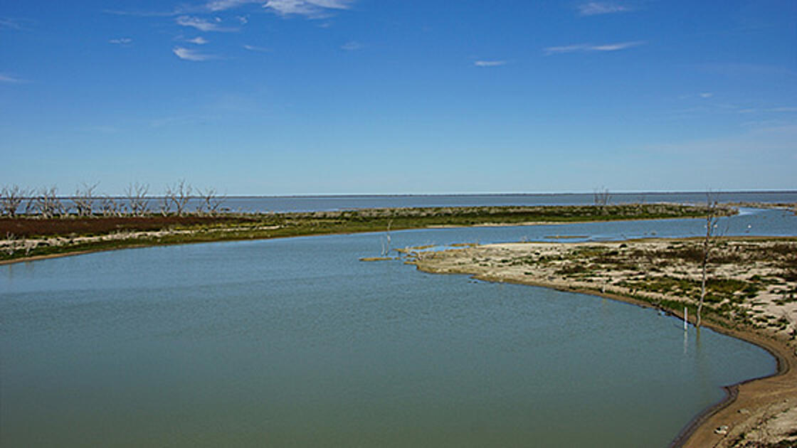 Image of a section of Menindee Lakes and shoreline.