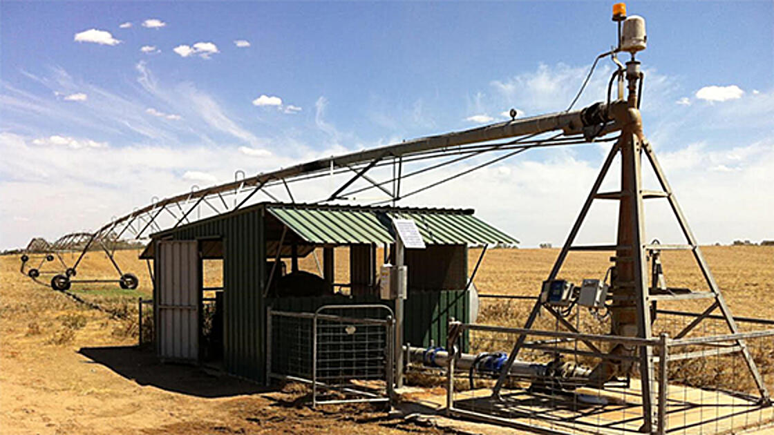 Water metering unit connected to irrigation equipment on dry farm lands.